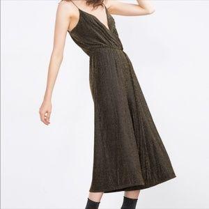 Zara Gold Shimmer Thread Jumpsuit